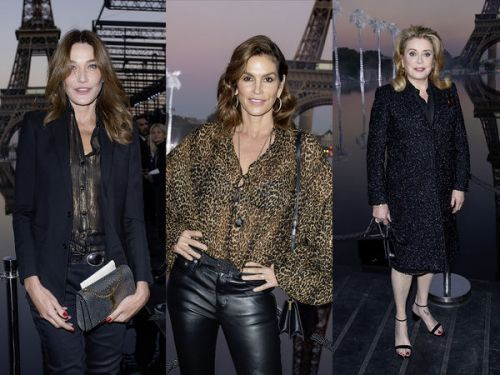 PHOTOS. Carla Bruni, Catherine Deneuve, Cindy Crawford. les people au défilé Yves Saint-Laurent