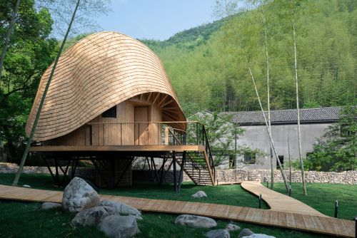 Delightful House on Stilts Amidst a Bamboo Forest