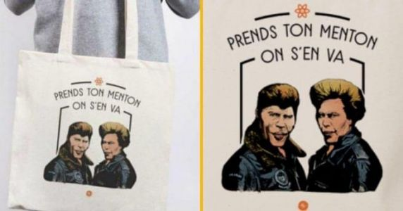 Un tote bag « Prends ton menton on s'en va »